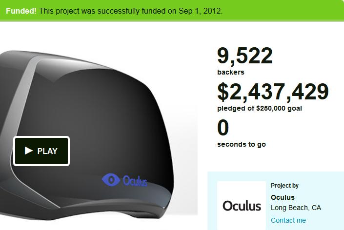 Oculus Rift erfolgreich finanziert